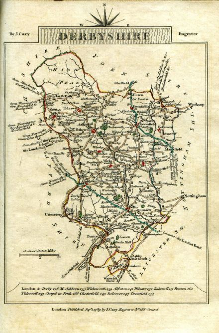 Derbyshire County Map by John Cary 1790 - Reproduction